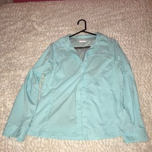 Light blue button down boat shirt